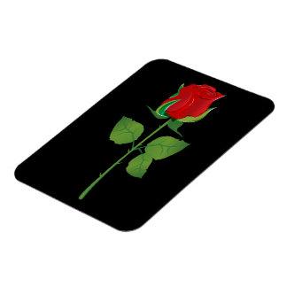 Long Stem Red Rose Rectangular Photo Magnet