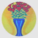 Long-stemmed Hearts in Blue Vase Round Stickers