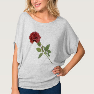 Long Stemmed Red Rose Flowy Top T Shirt