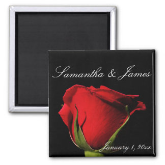 Long Stemmed Red Rose Personal Square Magnet
