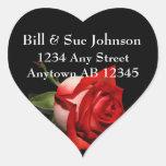 Long Stemmed Red Rose Wedding Return Address Heart Stickers