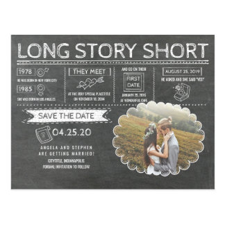 Long Story Short | Funny | Photo Save the Date Postcard
