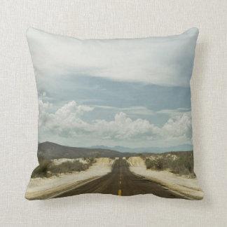 Long Straight Road Through Mexican Baja Landscape Cushion