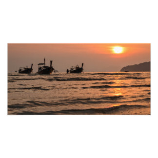 Long-tail boats photo greeting card