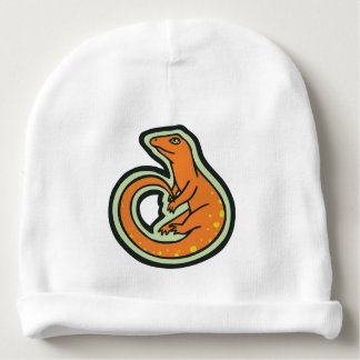 Long Tail Orange Lizard With Spots Drawing Design Baby Beanie