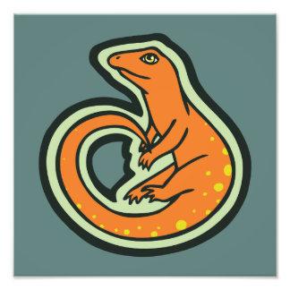 Long Tail Orange Lizard With Spots Drawing Design Photo Art