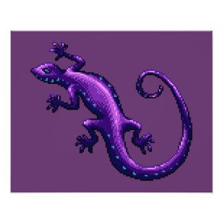 Long Tail Purple Lizard Blue Spots Pixel Photographic Print