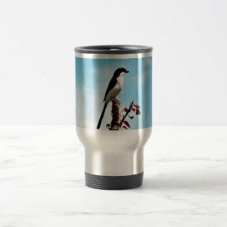 Long-tailed fiscal shrike 15 oz stainless steel travel mug
