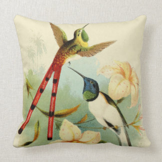 Long Tailed Hummingbird Birds Flowers Pillow
