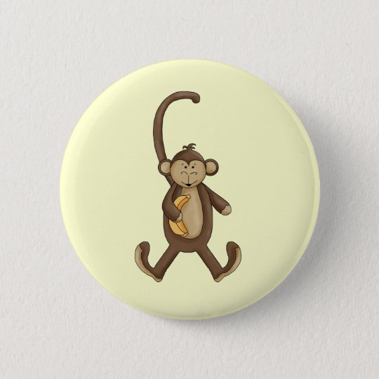 Long Tailed Monkey 6 Cm Round Badge