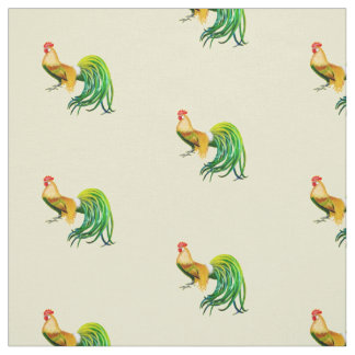 Long Tailed Rooster Chicken Fabric