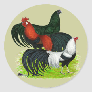 Long-tailed Rooster Trio Round Sticker