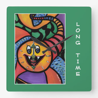 Long Time On Green  - Time Pieces Square Wall Clock