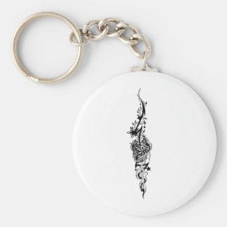 Long Tribal Basic Round Button Key Ring