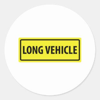 long vehicle round sticker