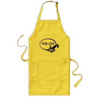 Long Yellow Apron Uniform with Pockets Custom Logo