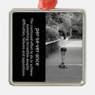 Longboard Girl Perseverance Silver-Colored Square Decoration