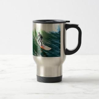 longboard surfer drops with wave coffee mugs