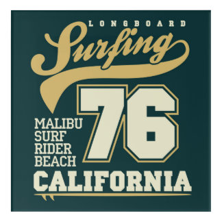 Longboard Surfing | California 76 Acrylic Wall Art