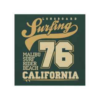 Longboard Surfing | California 76 Wood Prints