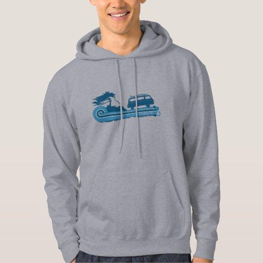 'Longboarder' Retro Hoodie in Turquoise & Aqua