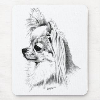 Longcoat chihuahua mouse pad