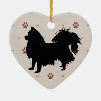 Longhaired Chihuahua Ceramic Heart Decoration