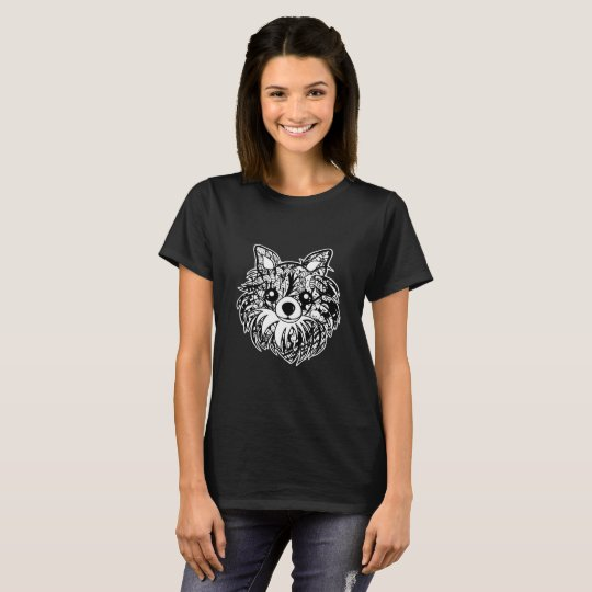 Longhaired Chihuahua Face Graphic Art T-Shirt