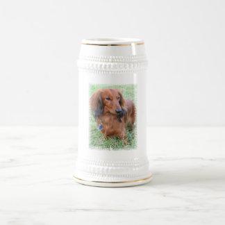 Longhaired Dachshund Beer Stein Mug