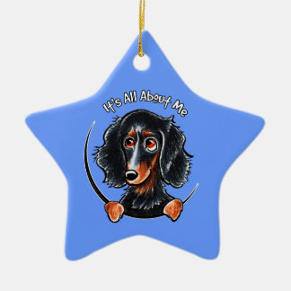 Longhaired Dachshund Black Tan IAAM Christmas Ornament