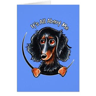 Longhaired Dachshund Black Tan IAAM Greeting Card