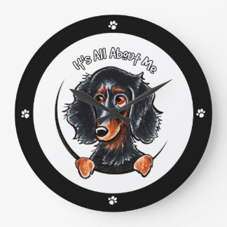 Longhaired Dachshund Black Tan IAAM Large Clock