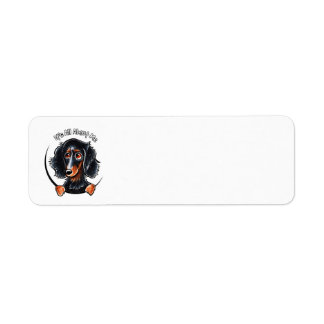 Longhaired Dachshund Black Tan IAAM Return Address Label