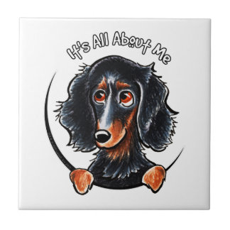 Longhaired Dachshund Black Tan IAAM Tile