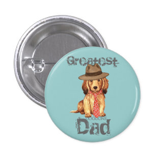Longhaired Dachshund Dad 3 Cm Round Badge