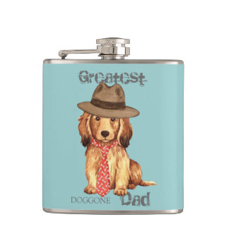 Longhaired Dachshund Dad Flask