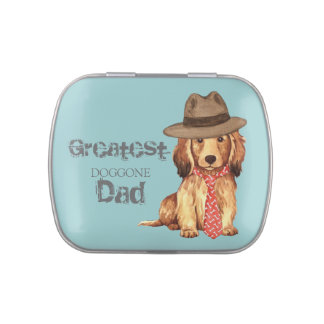 Longhaired Dachshund Dad Jelly Belly Tin