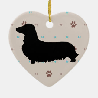 Longhaired Dachshund Double-Sided Heart Ceramic Christmas Ornament