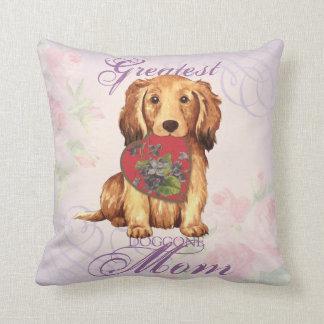 Longhaired Dachshund Heart Mom Pillows