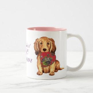 Longhaired Dachshund Heart Mom Mug