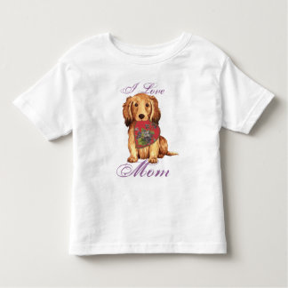 Longhaired Dachshund Heart Mom T Shirt