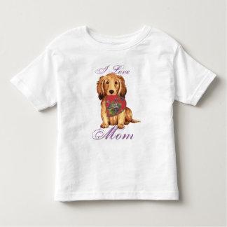 Longhaired Dachshund Heart Mom T Shirt