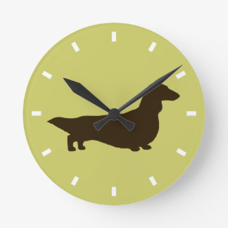 Longhaired Dachshund on Green - Color Customizable Round Clock