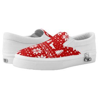 Longhaired Dachshund Silhouettes Christmas Pattern Slip-On Shoes