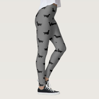 Longhaired Dachshund Silhouettes Pattern Leggings
