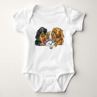 Longhaired Dachshund Trio Baby Bodysuit