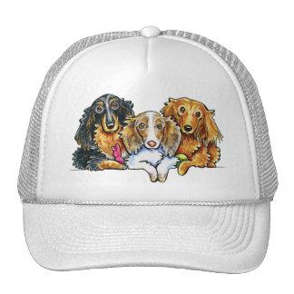 Longhaired Dachshund Trio Trucker Hats
