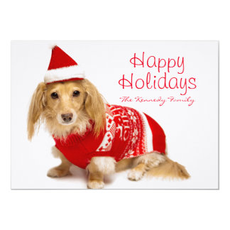 Longhaired dachshund wearing a red Christmas 13 Cm X 18 Cm Invitation Card