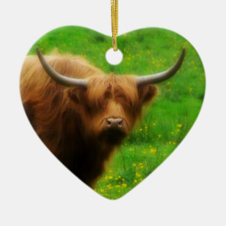 Longhaired LongHorn with Long Horns Ceramic Heart Decoration