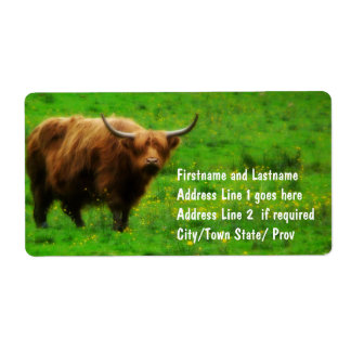 Longhaired LongHorn with Long Horns Shipping Label